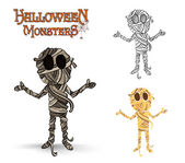 Halloween monsters spooky mummy illustration EPS10 file — Stock Vector