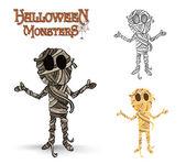 Halloween monsters spooky mummy illustration EPS10 file — Stock Vector