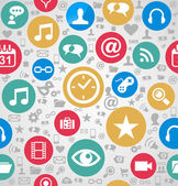 Colorful social media icons seamless pattern background EPS10 fi — Vector de stock