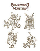 Halloween Monsters spooky elements set EPS10 file. — Stock Vector