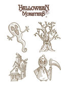 Halloween Monsters spooky characters set EPS10 file. — Stock Vector