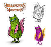 Halloween monsters spooky creature illustration EPS10 file — Stock Vector