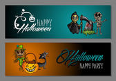 Halloween monsters happy party web banners set EPS10 file. — Stock Vector