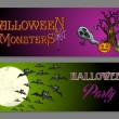 Halloween monsters happy party web banners set EPS10 file. — 图库矢量图片