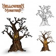 Halloween monsters spooky tree illustration EPS10 file — Stock Vector