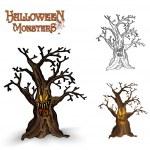Halloween monsters spooky tree illustration EPS10 file — Stock Vector