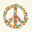 Isolated peace symbol made with flowers composition EPS10 file. — Stock Vector #31738605