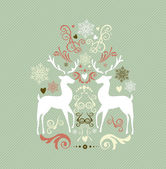 Vintage Merry Christmas decoration with reindeers EPS10 file. — Stock Vector