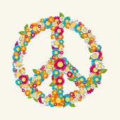 Isolated peace symbol made with flowers composition EPS10 file. — Stock Vector