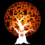 felice halloween full moon e spooky tree illustrazione eps10 fil — Vettoriale Stock