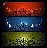 Happy Halloween trick or treat web banners set EPS10 file. — Stock Vector