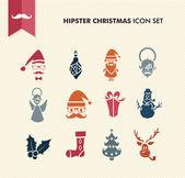 Eps10 arquivo de conjunto de ícones de natal feliz hipster. — Vetorial Stock