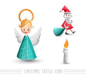 Merry Christmas sketch style elements set EPS10 file. — Stock Vector