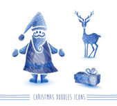 Merry Christmas blue sketch style elements set EPS10 file. — Stock Vector