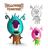 Halloween monsters one eye creature EPS10 file. — Stock Vector