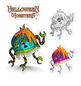 Halloween monsters scary cartoon freak EPS10 file. — Stock Vector