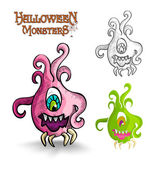 Halloween monsters scary cartoon ugly freak EPS10 file. — Stock Vector