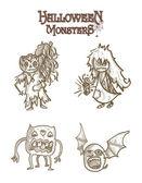 Děsivé příšery Halloween náčrt souboru sady eps10 karikatury stylu. — Stock vektor