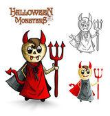 Halloween monsters scary cartoon devil man EPS10 file. — Stock Vector
