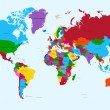 World map, colorful countries atlas EPS10 vector file. — Vecteur