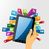 Human hand holds tablet pc with app icons. — Stock Vector