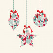Merry Christmas hanging baubles elements composition. — Stock Vector