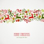 Merry Christmas decorations elements border. — Stock Vector