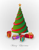 Merry Christmas tree with presents EPS10 file. — Vector de stock
