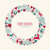 Merry Christmas elements decoration circle shape. — Stock Vector