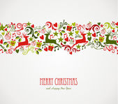 Merry Christmas decorations elements border. — Stock Vector