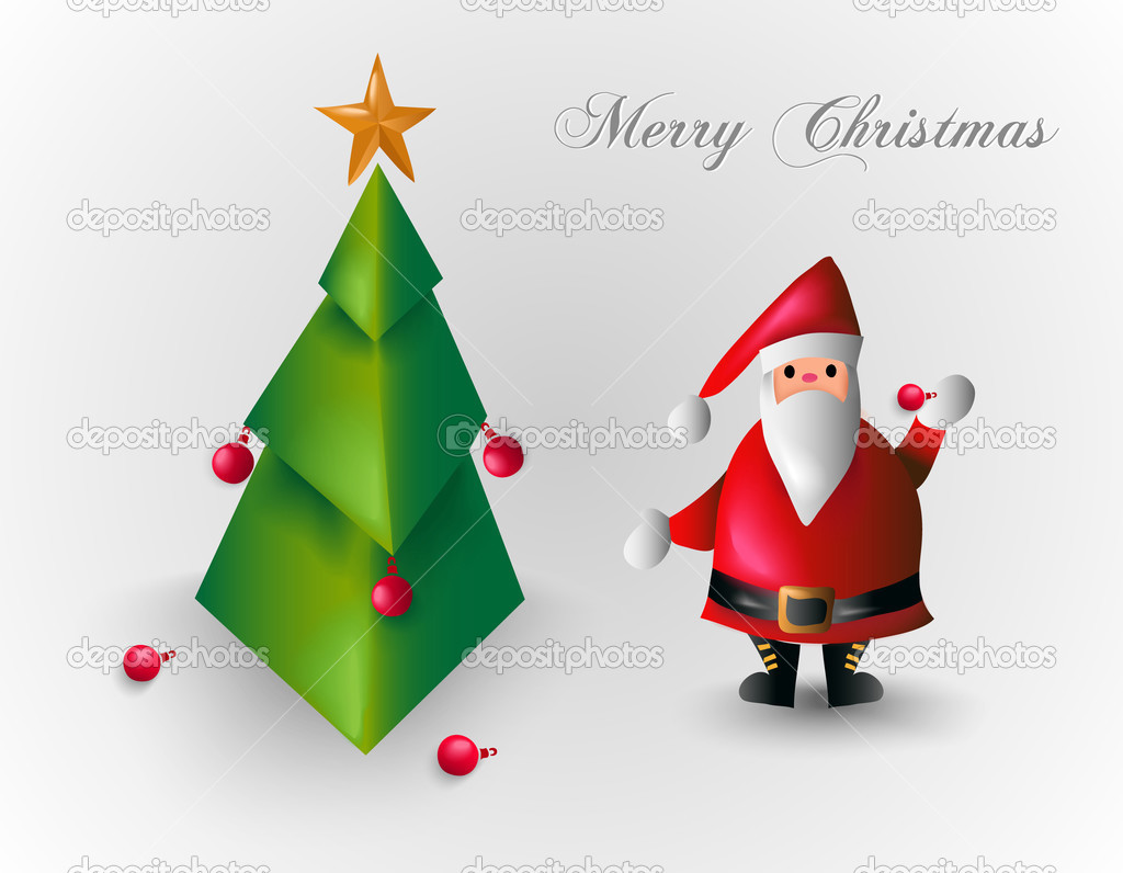 Merry christmas tree and santa claus eps10 file stock vector