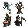 Halloween monsters isolated sketch style creatures set. — Stock Vector #33308047