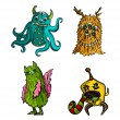Halloween monsters isolated sketch style creatures set. — Stock Vector #33308053