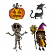 Halloween monsters isolated sketch style creatures set. — Stock Vector #33308123