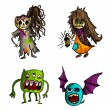 Halloween monsters isolated sketch style creatures set. — Stock Vector #33308209