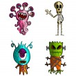 Stock Vector: Halloween monsters isolated sketch style creatures set.