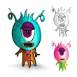 Постер, плакат: Halloween monsters isolated sketch style creatures set