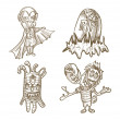 Halloween monsters isolated sketch style creatures set. — Stock Vector #33308787