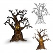 Halloween monsters isolated spooky haunted tree set. — Stock Vector