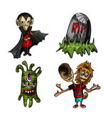 Halloween monsters isolated sketch style creatures set. — Stock Vector