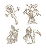 Halloween classics isolated sketch style creatures set. — Stock Vector