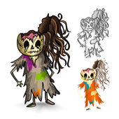 Halloween monsters isolated sketch style zombies set. — Stock Vector