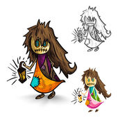 Halloween monsters isolated sketch style witches set. — Stock Vector