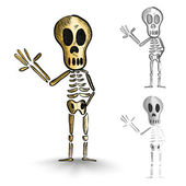 Halloween monsters isolated spooky skeletons set. — Stock Vector