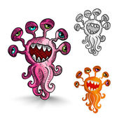 Halloween monsters isolated spooky creatures set. — Stock Vector