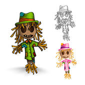Halloween monsters isolated hand drawn scarecrows set. — Stock Vector