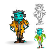 Halloween monsters isolated spooky zombie man set. — Stock Vector