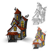Halloween monsters isolated spooky haunted houses set. — Stockvektor