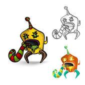 Halloween monsters spooky isolated freaks set. — Stock Vector