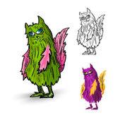Halloween Monsters spooky isolated creatures set. — Stock Vector
